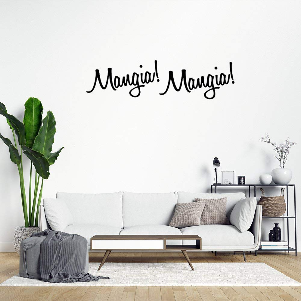 Mangia Mangia! Italian Kitchen Wall Sticker,Quote Saying Words Wall Decal Saying Family Room,Wall Art Decor for Boys Room Kids Bedroom Living Room