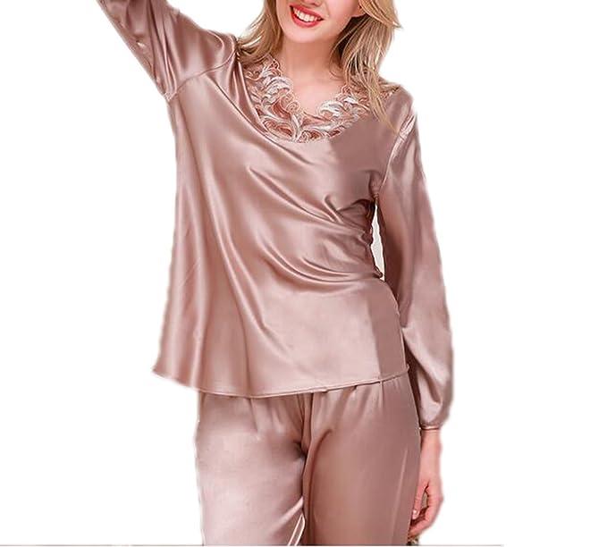 QPALZM Pijama De Seda De Satén De Manga Larga De La Mujer Conjunto Pijamas Con Lado