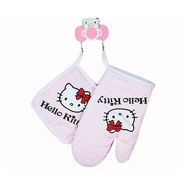 1SET Hello Kitty Kitchen Professional Mitt Cooking Microwave Oven Insulation Heat Resistant Gloves Heatproof Anti-Slip & Flexible Insulation Pads Cotton Thickening Non-Slip Gloves for Women Pink