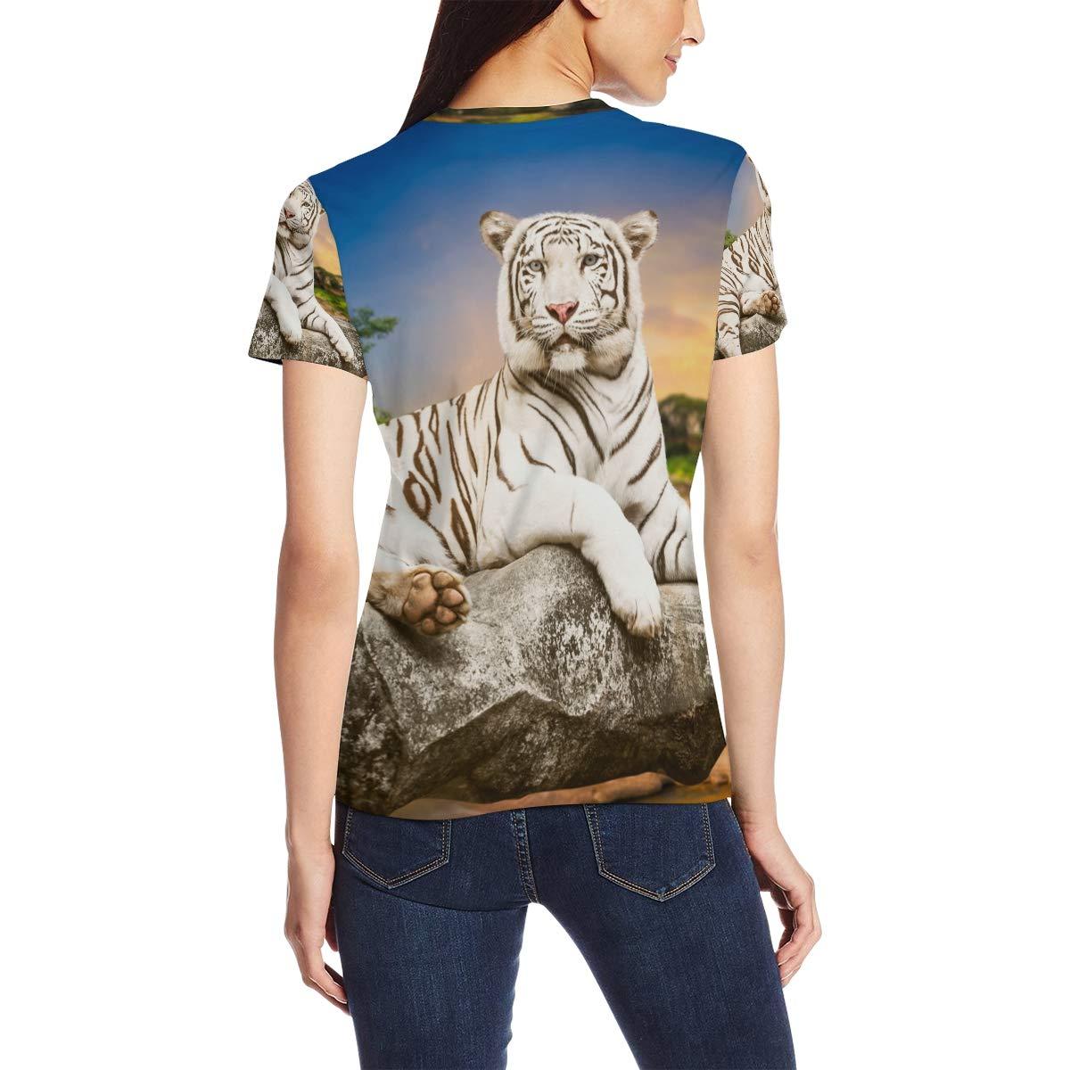 9336976b2 Tiger Pattern Print Women's Short Sleeve T-Shirt Top Tee at Amazon Women's  Clothing store: