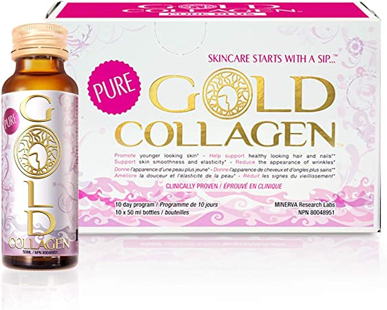 Pure Gold Collagen | The Original #1 Liquid Collagen Peptides Supplement | Hydrolyzed Marine Collagen Drink with Hyaluronic Acid | 11 Active Ingredients, Patented Nutriglow Complex for Skin Hair Nails