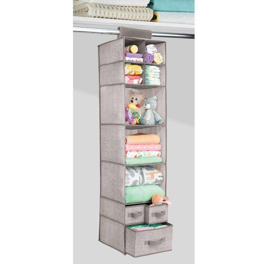 indumenti e accessori mDesign salvaspazio per larmadio set da 2 armadio in stoffa multiuso organizer da appendere con 10 vani portaoggetti per pannolini grigio