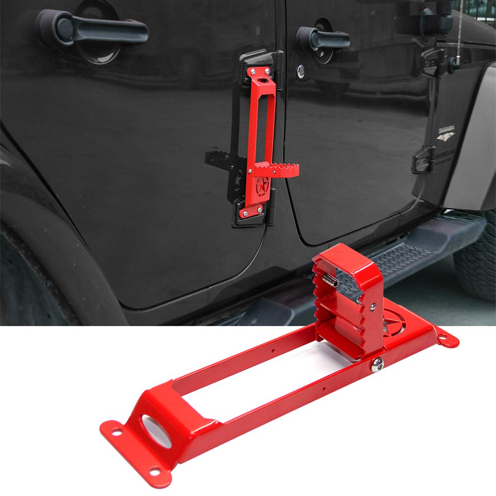 Red Ladder Jeep Doorstep Hinge Folding Ladder Foot Pegs No Drilling Rest Pedal for Jeep Wrangler 2007-2017 1pc Pack Side Door Step Rest Pedals