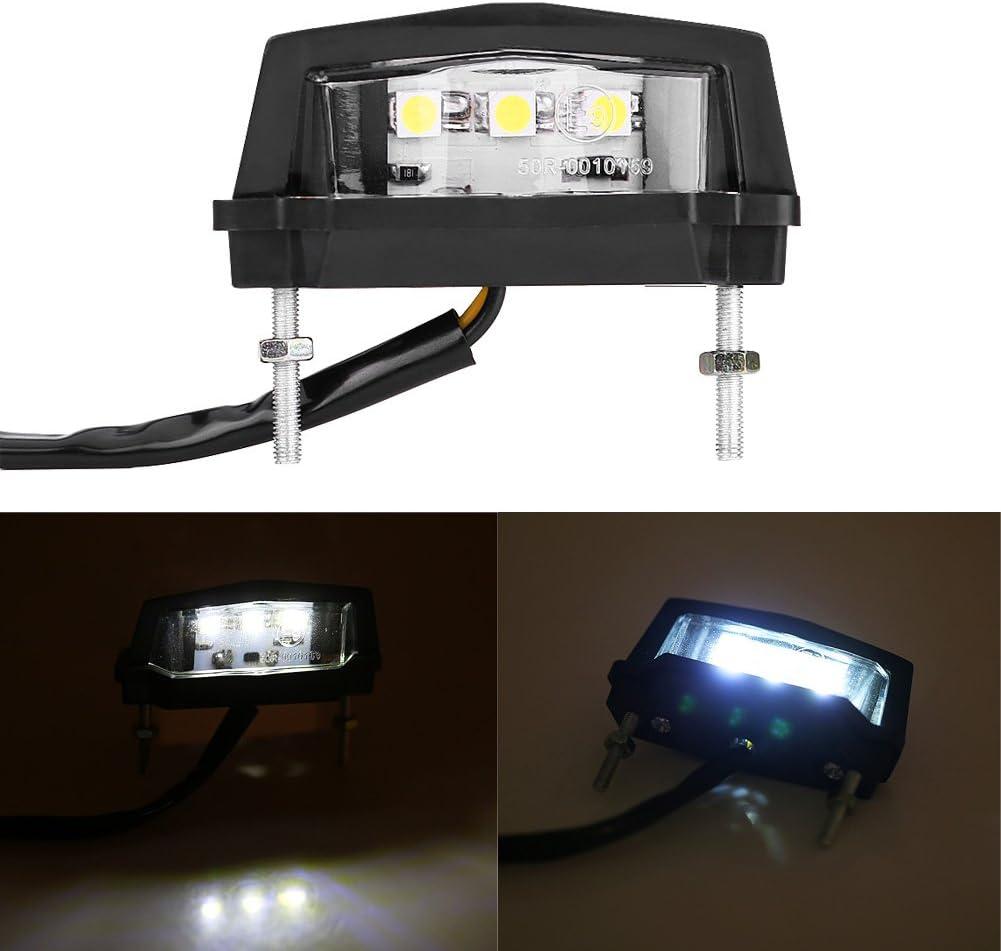 12V Luce targa LED per moto moto Fanale posteriore posteriore bianco Yctze Luce targa moto universale