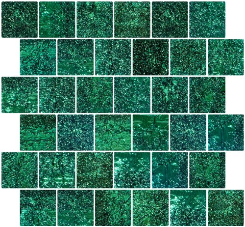 Susan Jablon Mosaics - 2x2 Inch Cobalt Turquoise Dichroic Glass Tile Reset In Offset Layout
