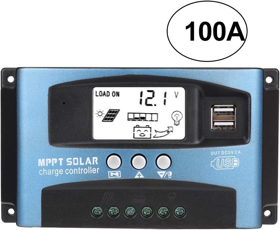Controlador de carga solar, 40/50/60/100A MPPT Controlador de carga solar Regulador del cargador de batería Pantalla LCD USB dual 12V 24V(100A)