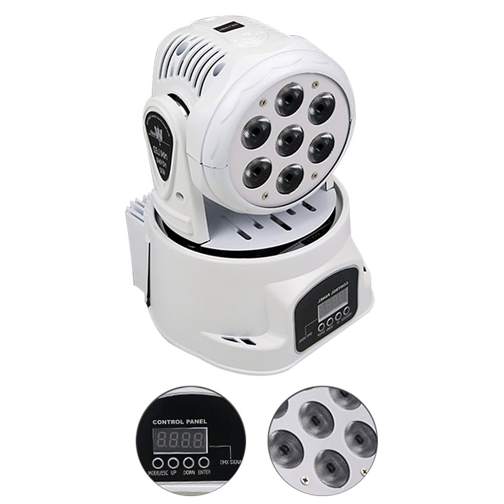 Lightess 7 LED Moving Head Light 150W Super Bright RGBW DMX512 9/14 Channel Mini Rotating DJ Disco Stage Light Effect Lamp for Indoor Disco KTV Club Party Effect Lighting, Black