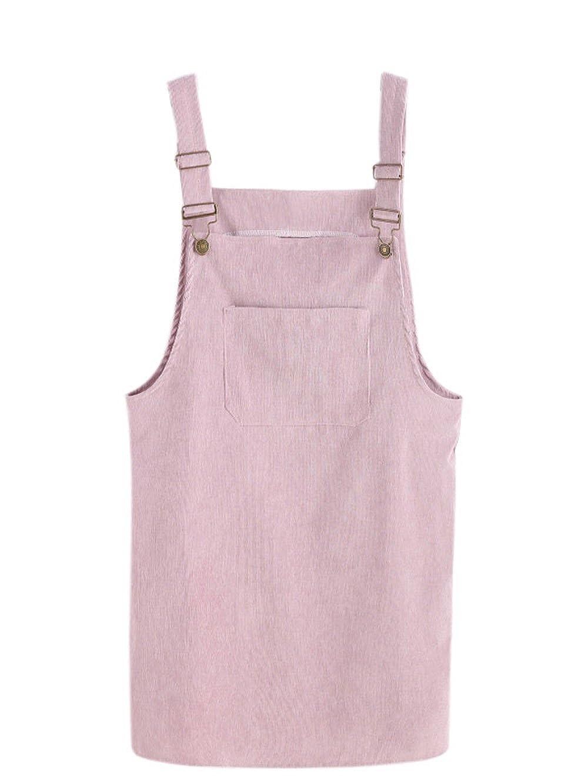 TALLA S. SOLY HUX Mujer Pichi Falda Peto de Canalé con Bolsillo en la Parte Delantera Rosa S