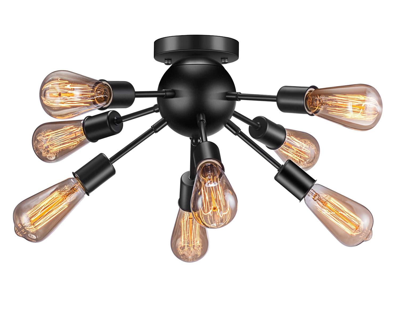 Vintage Semi Flush Mount Ceiling Light with 8 UL Sockets, Elibbren E26 Base Modern Antique Black Sputnik Industrial Ceiling Lamp Fixture for Kitchen Dining Room Bedroom Study Living Room