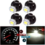 CCIYU 4 Pack White T4/T4.2 Neo Wedge 1SMD LED Climate Control Light Lamp Bulb for 1998-2010 Honda Accord/ Odyssey /Civic (white)