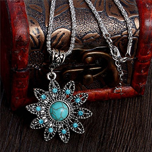 UltraSunday Woman Vintage Fashion Turquoise Crystal Flower Pendant Chain Necklace Jewelry