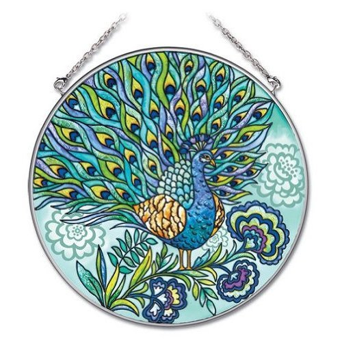 Amia 6-1/2-Inch Circle Hand-Painted Glass Suncatcher, Peacock, Large