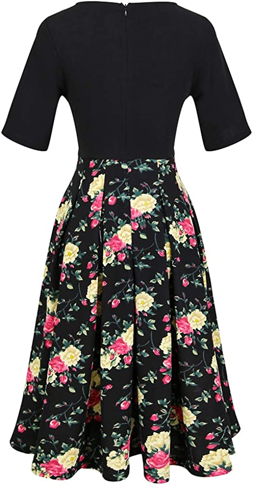 Womens Vintage Patchwork Pockets Puffy Swing Casual Party Dress 8215 Pattern-1, XXL