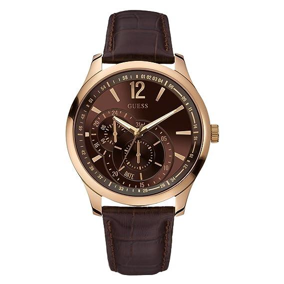 Guess W95086G1 - Reloj analógico de cuarzo para hombre con correa de piel, color marrón: Amazon.es: Relojes