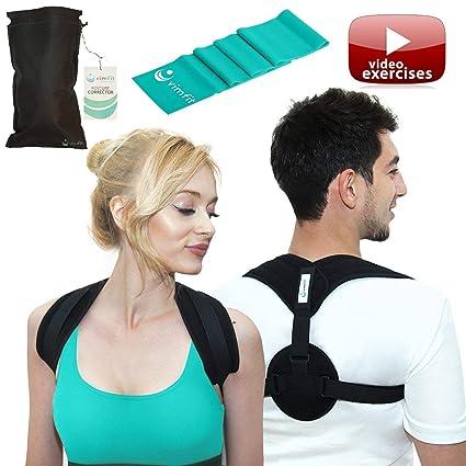 e22490c2d0f23 VIMFIT Posture Corrector for Women Men - Upper Back Support Clavicle  Shoulder Brace Thoracic Kyphosis -