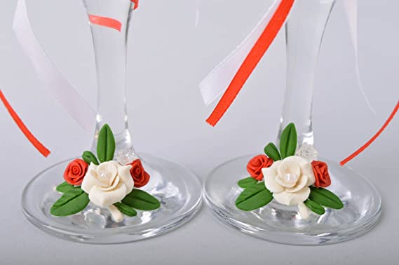 Amazon.com: Handmade Wedding Glasses Made Of Cold Porcelain ...