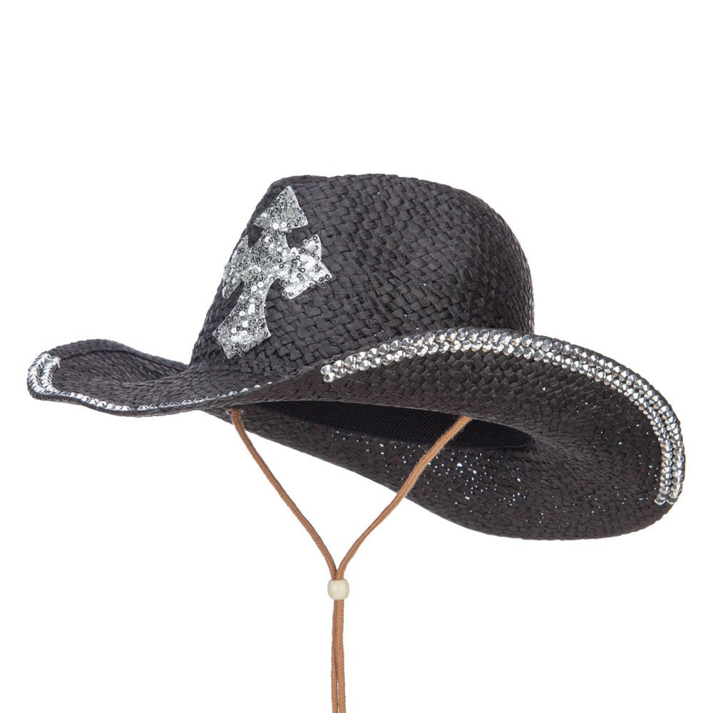 Cross Design Stones Straw Cowboy Hat - Black OSFM
