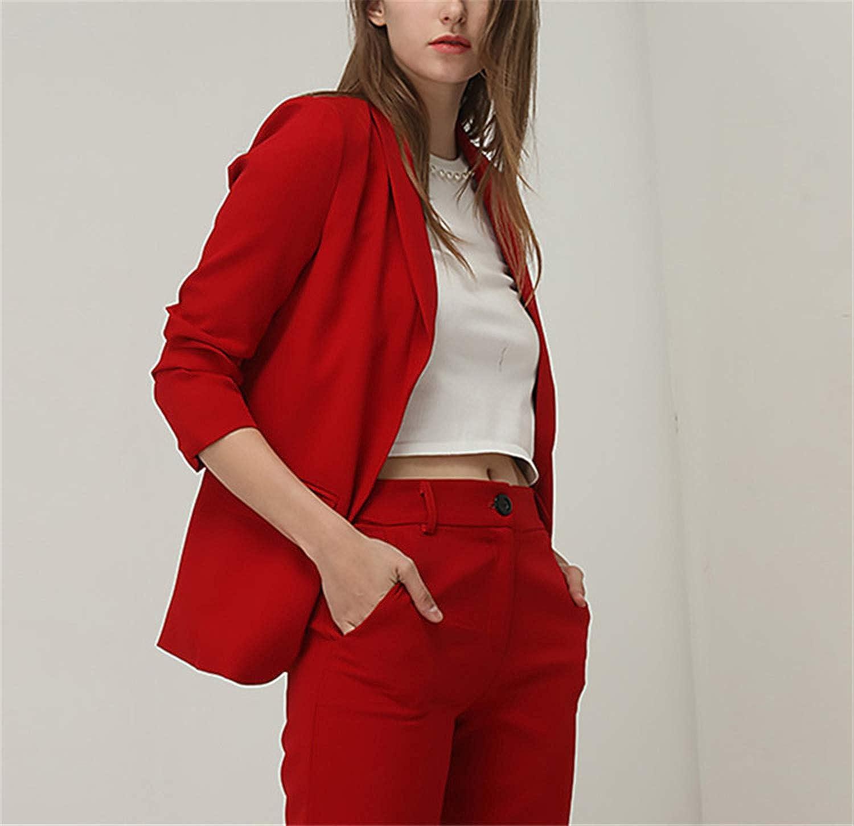 Spring Fashion Red Blazer Women Ol Puff Sleeve Workwear Coat No Button Outwears