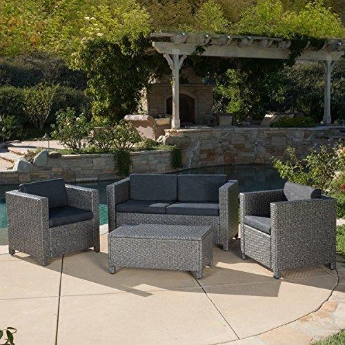 Amazon.com : Home Outdoor Puerta 4 Piece Furniture Grey Wicker Steel And  Wicker Construction Grey Black Sofa Set With Cushions : Patio, Lawn U0026 Garden