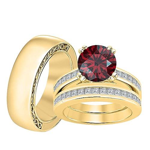 RUDRAFASHION 14K Gold Round Red Garnet /& Diamond Two Stone Engagement Ring for Womens