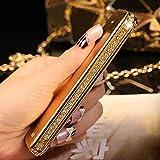 Luxury Charm Apple iPhone 5s Protective Flip Case Cover Bling Handmade Diamond Crystal Rhinestone Ultra Thin Backing Shell Design for Women / Ladies / Girls / Teens -Gold