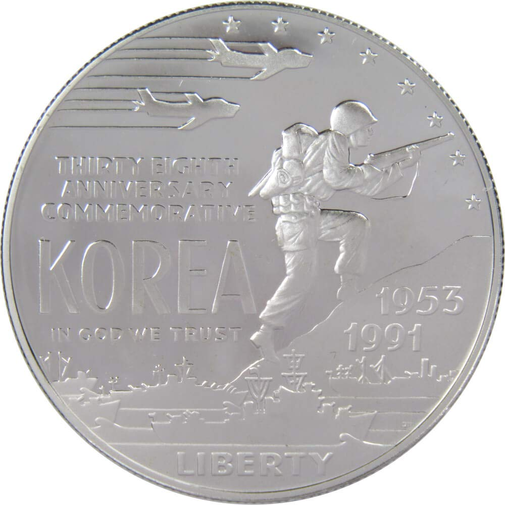 1991 Korean War Memorial Proof Commemorative Silver Dollar