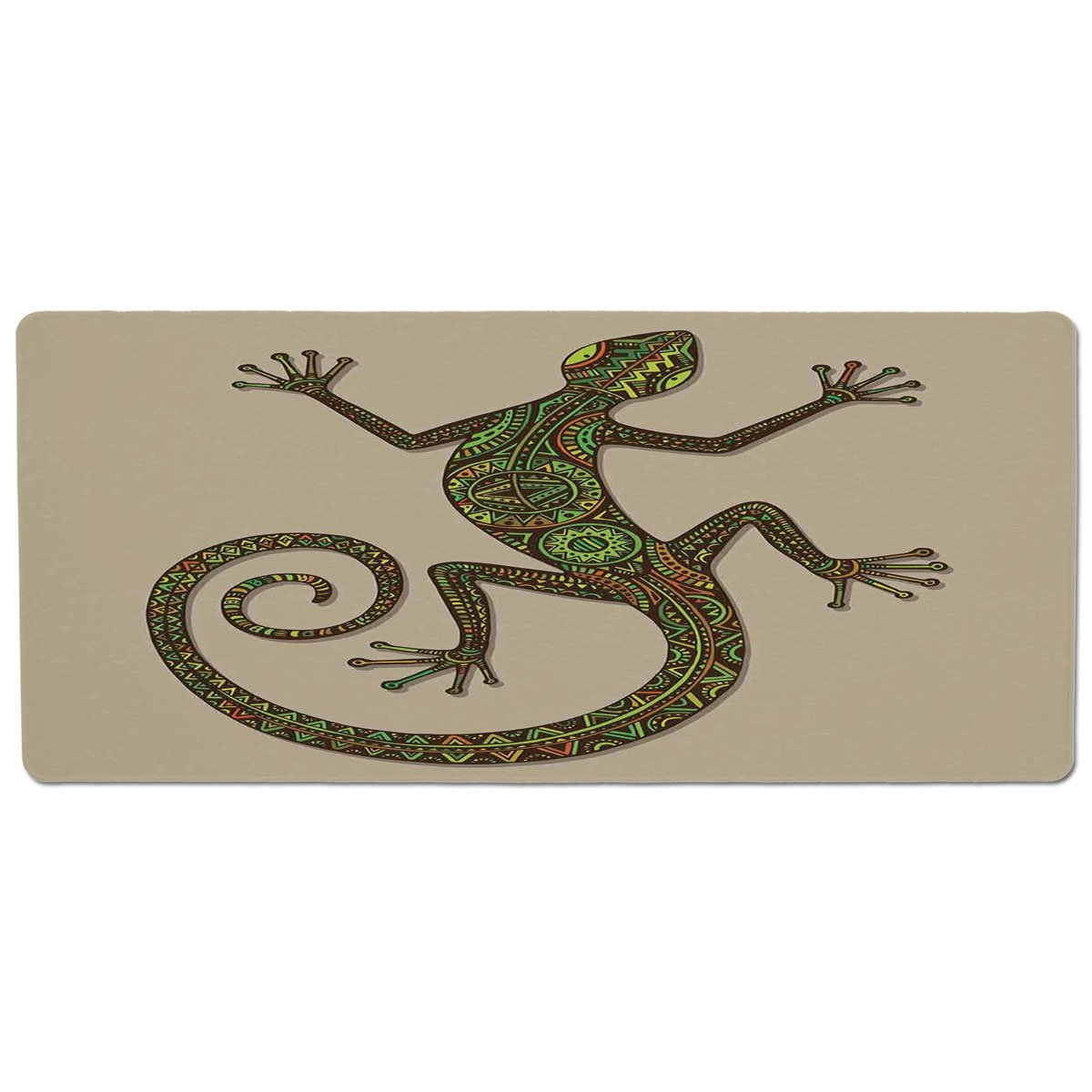 35.4\ iPrint Pet Mat for Food and Water,Reptiles,Ornamental colorful Lizard with Ethnic Patterns Moving Around Exotic Creature Decor,Green Ecru,Rectangle Non-Slip Rubber Mat for Dogs and Cats