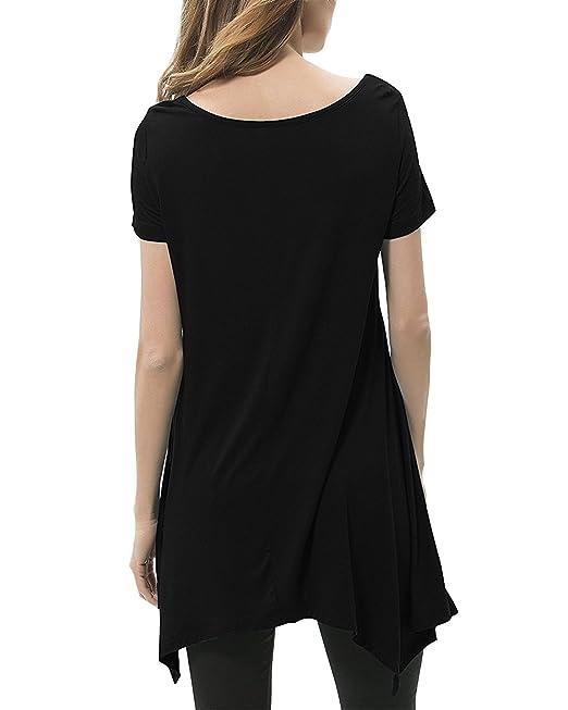 StyleDome Mujer Camiseta Blusa Playa Manga Corta Moda Oficina Elegante Deportiva Negro M: Amazon.es: Ropa y accesorios