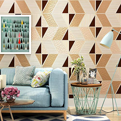 Curtain Zio Geometry Pattern Wall Paper Living Room Bedroom Non-Woven Suede Velvet 3D Relief TV Background Wallpaper Tan 5.3㎡