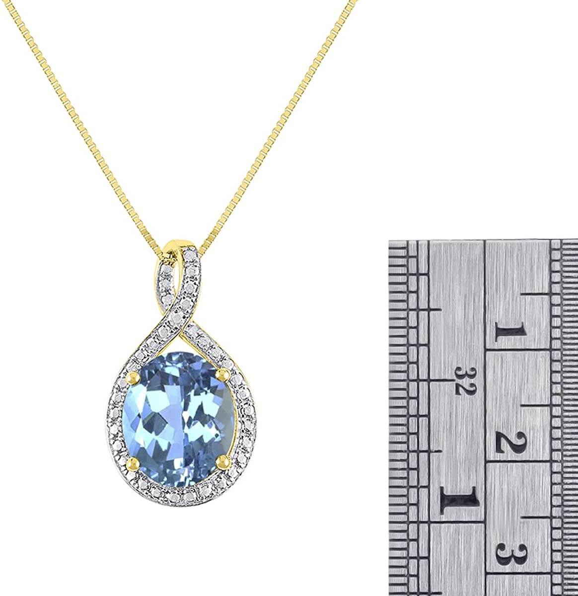 Gorgeous 12x10 Oval Blue Topaz /& Diamond Pendant set in Sterling Silver with 18 Chain