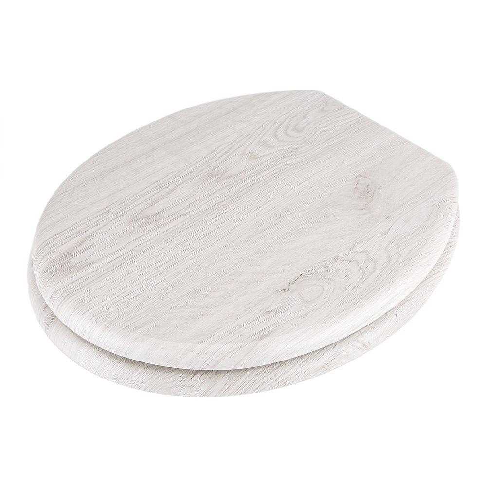 Asiento WC Madera Tapa WC Universal Bisagras de Aleaci/ón de Zinc Cierre Suave Lento