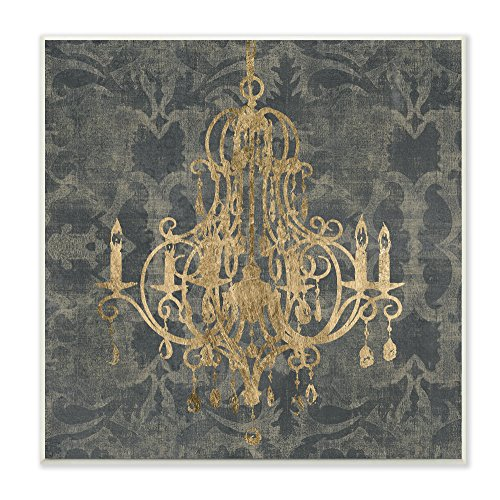 Stupell Home Décor Damask Chandelier Wall Plaque Art, 12 x 0.5 x 12, Proudly Made in USA
