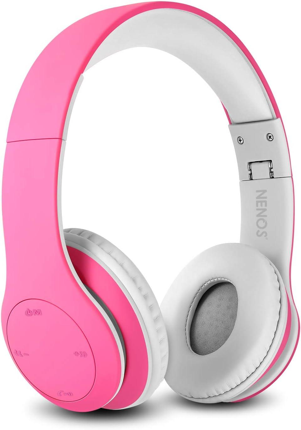 Nenos Bluetooth Kids Headphones Wireless Kids Headphones 93dB Limited Volume Wireless Headphones for Kids (Pink)