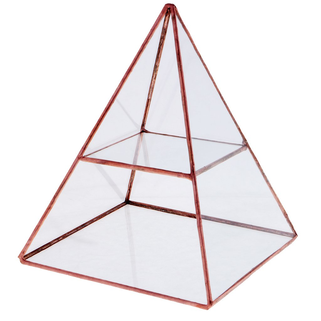 Jili Online 2 Tiers Glass Pyramid Jewelry Stand Display Case with Vintage Style Brass Tone Metal Frame - Copper