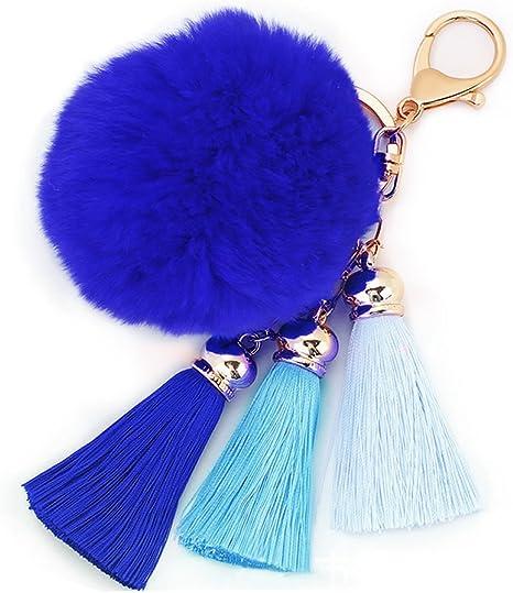 Rabbit Fur Fluffy Pompom Ball Handbag Car Pendant Charm Key Chain Keyrings FG
