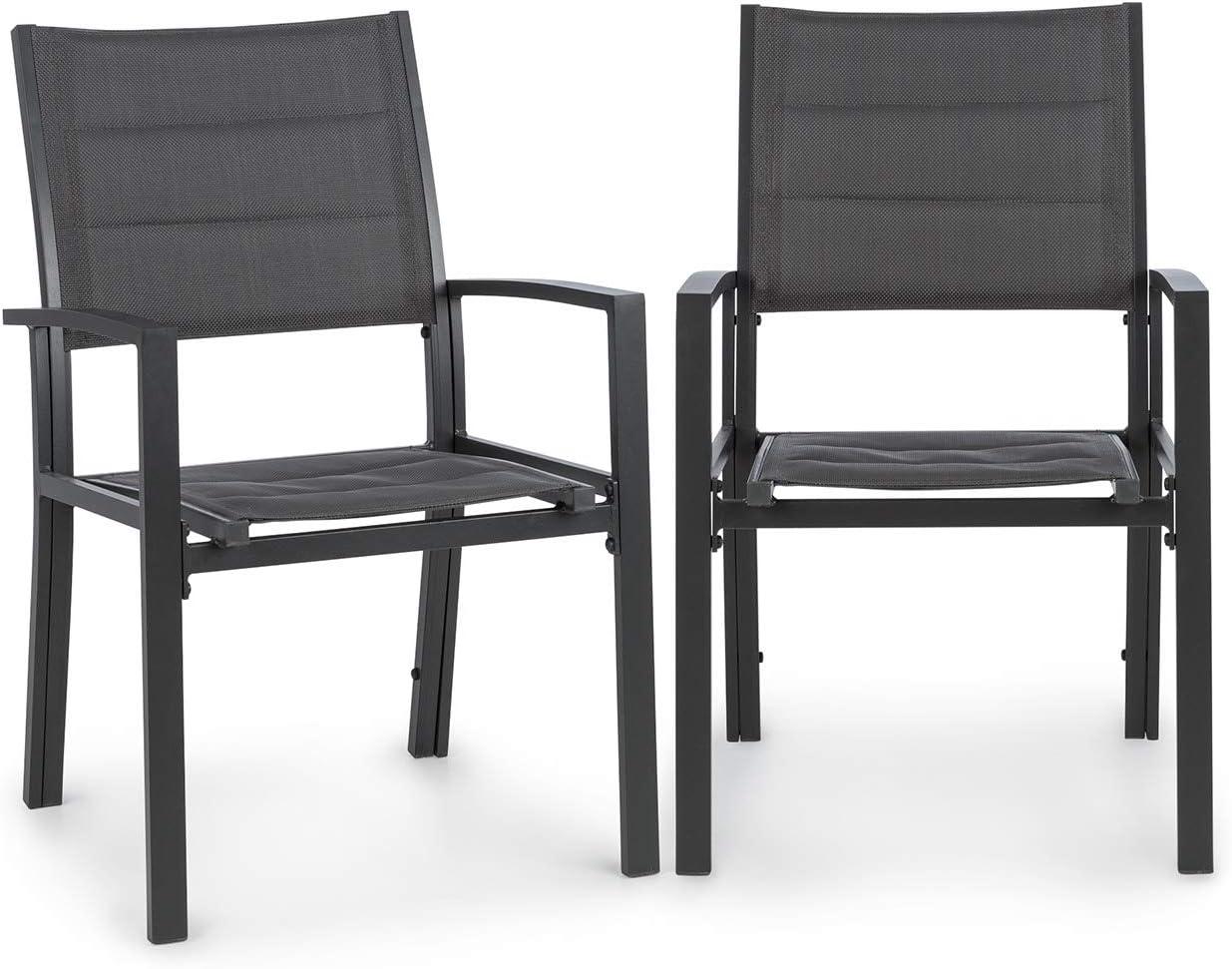 blumfeldt Torremolinos sillas de Exteriores - 2 Unidades, Estructura de Aluminio, ComfortMesh, Asiento de 40 x 43 cm, Hidrófugo, Acolchado ClassicComfort, Gris Oscuro