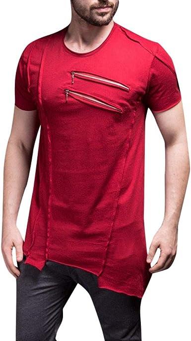 Men Summer Leater Zipper Blouse Patchwork Men/'s Short Sleeve T-shirt Blouse US