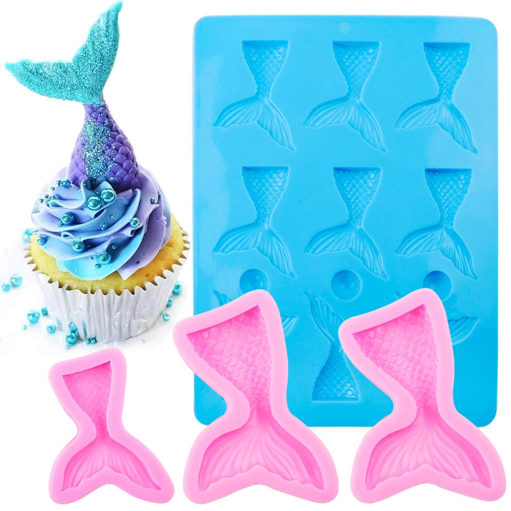 BAKHUK 4pcs Mermaid Tail Mold Silicone Candy Chocolate Fondant Mold for Decorating Cakes, Pink and Blue