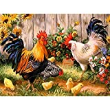 COCODE DIY 5D Diamond Painting by Number Kit, Crystal Rhinestone Full Drill Rooster Hen Chicks Embroidery Cross Stitch Arts Craft Canvas for Home Wall Decoration, 18.1 x 14.2 inch