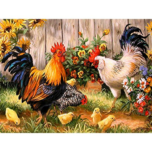 (Petift DIY 5D Diamond Painting by Number Kit for Adult,Crystal Rhinestone Full Drill,Drill Canvas Bead,Rooster Hen Chicks,Cross Stitch Stickers Arts Craft Kits for Home Wall)