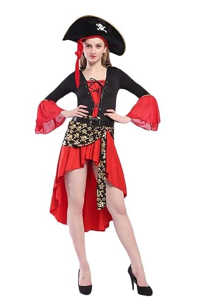 Saoye Fashion Disfraz Pirata Disfraces Mujer Carnaval Irregular Vestidos Disfraces  Cosplay Anime Niñas Ropa Halloween Rojo Mujer Vestido+Gorras+Cinturon One  ... e0dbc74786a