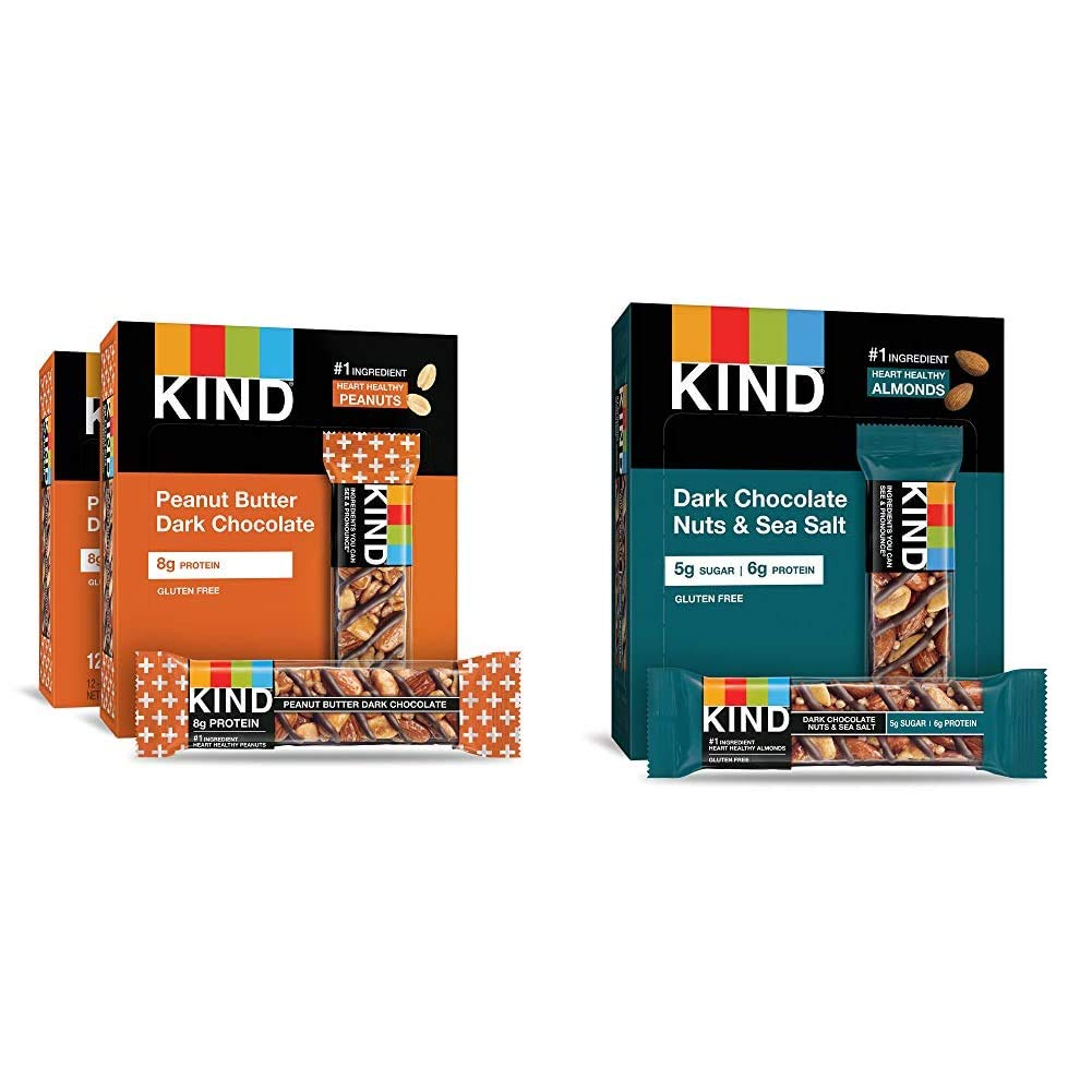 KIND Bars, Peanut Butter Dark Chocolate, 8g Protein, Gluten Free Bars, 1.4 Ounce,24 Count & Bars, Dark Chocolate Nuts & Sea Salt, Gluten Free, Low Sugar, 1.4 Ounce, 12 Count