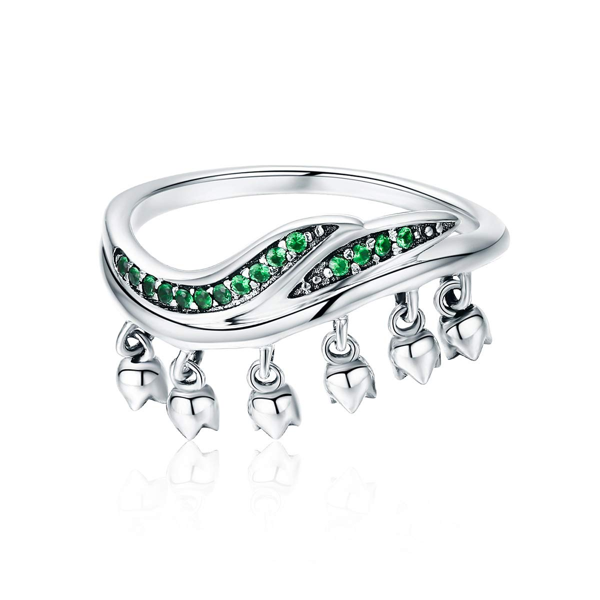 DALARAN Tree of Life Rings Sterling Silver Band for Women Emerald Leaves Wedding Engagement Solitaire Ring