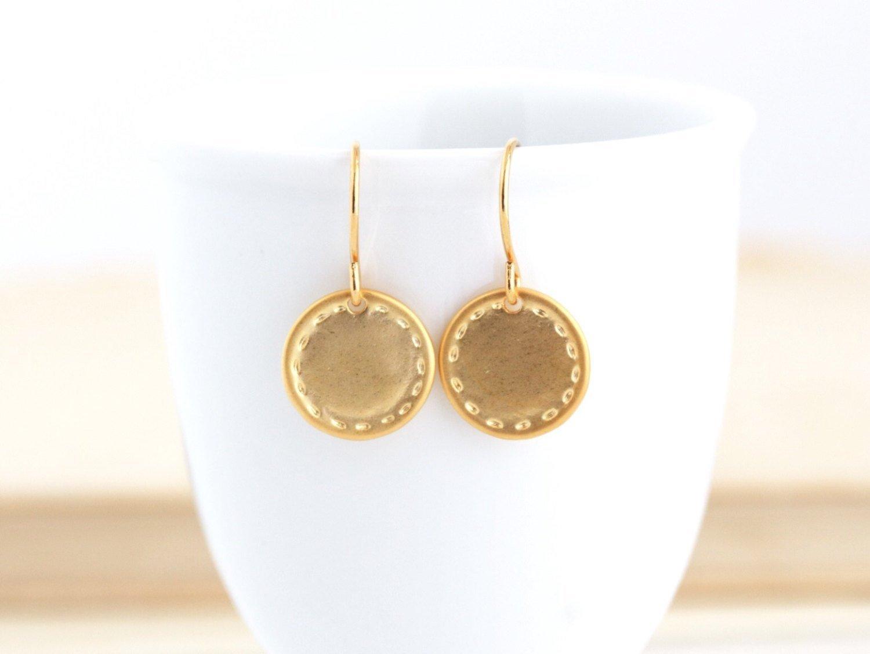 Simple Gold Disc Earrings