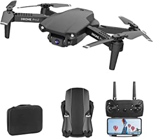 New Mini Drones 4K Dual Camera WiFi FPV Professional Aerial Photography Foldable Drone RC Quadcopter Gesture Photo Trajectory Flight one Key to Return Home Fixed Height,Black,3battery