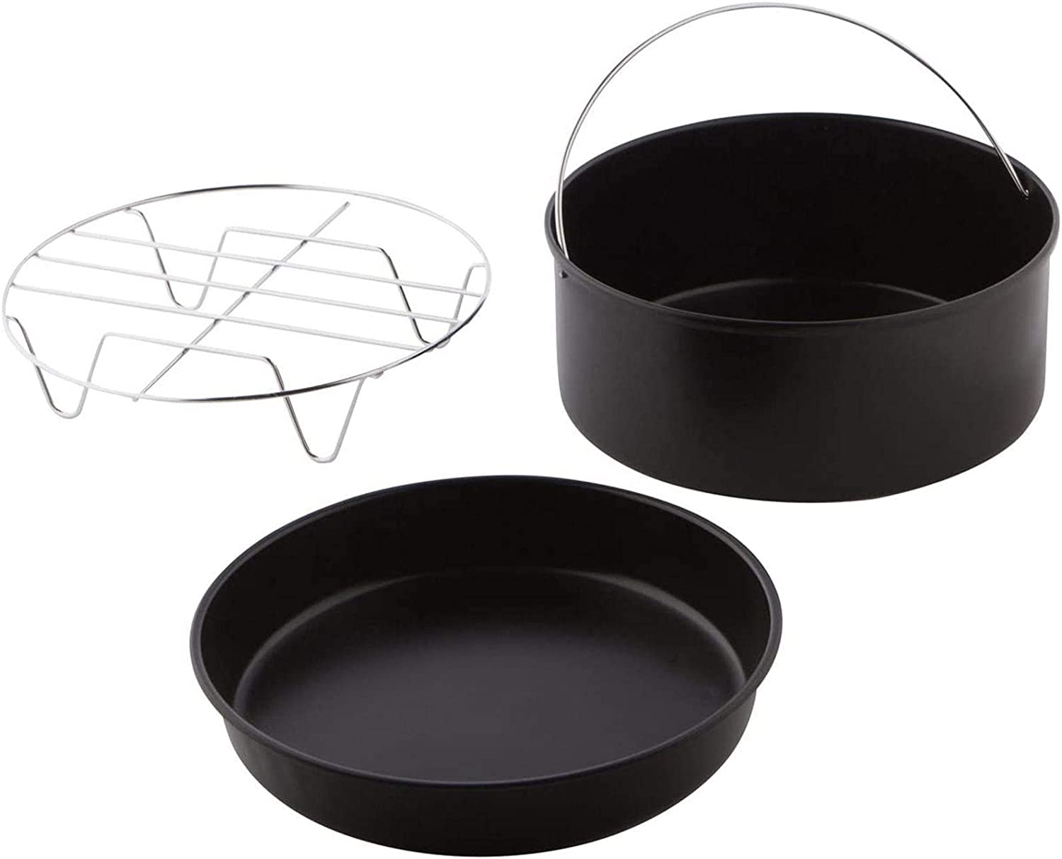 3PCS BBQ Rack Cake Barell Slow Cooker Home Air Fryer Accessories Pizza Tray