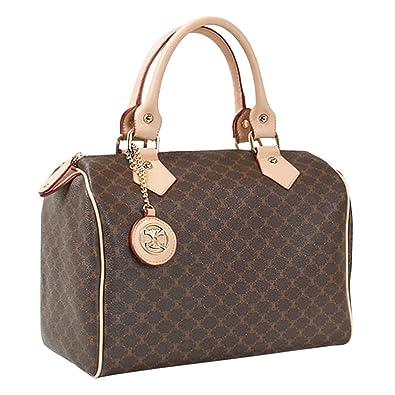 2ca7ed957f3 Leather Accents Classic Boston Bag (beige)  Handbags  Amazon.com
