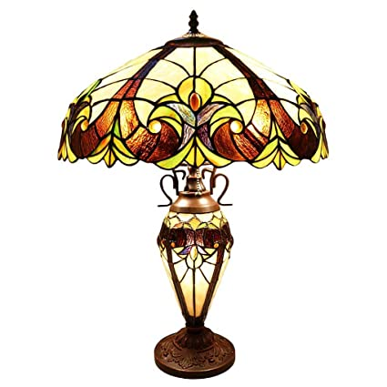 River Of Goods Tiffany Table Lamp: Double Lit Stained Glass Lamps For Side,  End