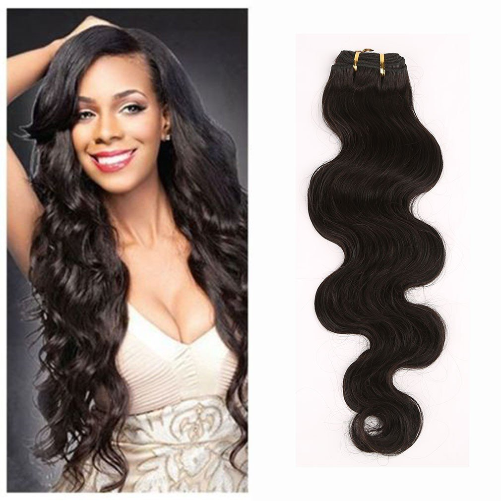 """100% Unprocessed Virgin Brazilian Hair Extensions Grade 7A Quality 14-24inch Weave Weft Thick Body Wave Human Natural Hair,#1B Natural Black 100g,20"""" / 20 inch"""