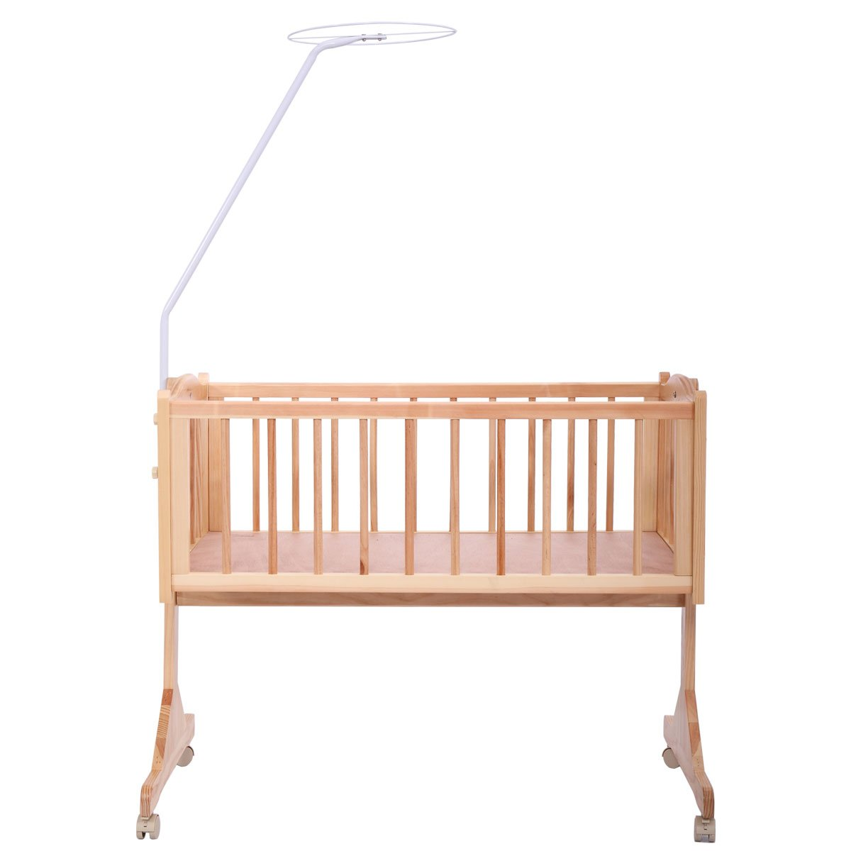 JAXPETY Wood Baby Cradle Rocking Crib Bassinet Bed Sleeper Portable Nursery Blue by JAXPETY (Image #6)